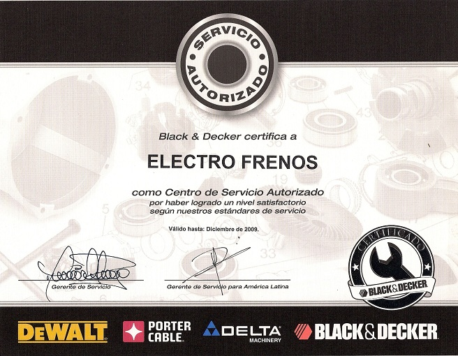 Certificado Black Decker
